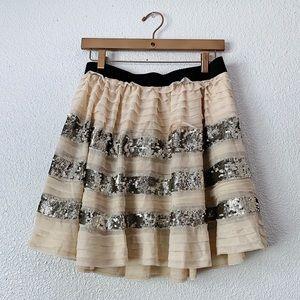Free People Cream Ruffle Sequin Skirt